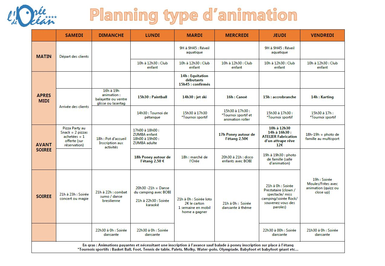 Planning type d'animation